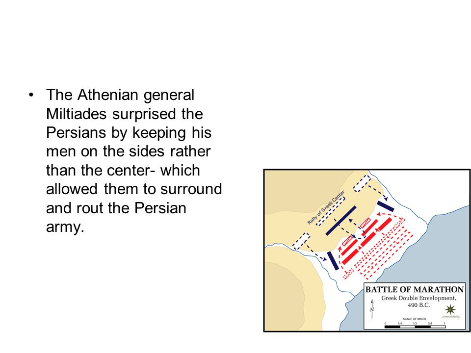 The Athenian general Miltiades surprised the Persians by keeping his men on the sides rather than the center- which allowed them to surround and rout the Persian army.