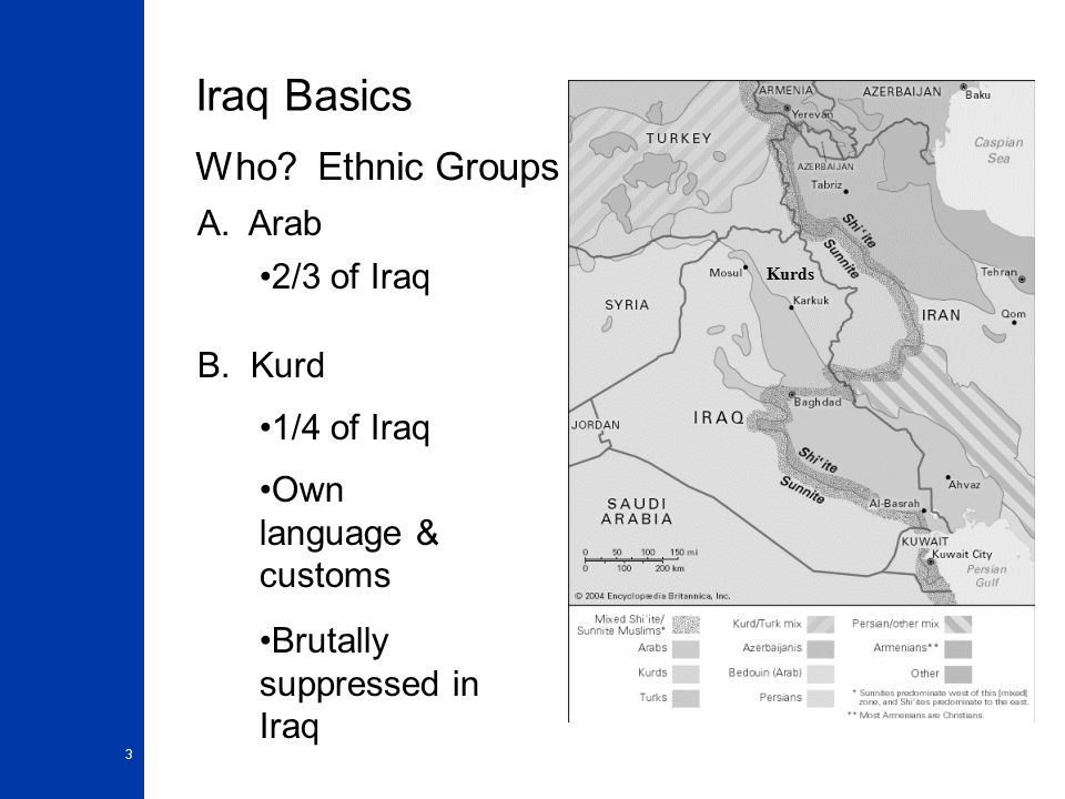 3 Iraq Basics Who.Ethnic Groups A. Arab B.