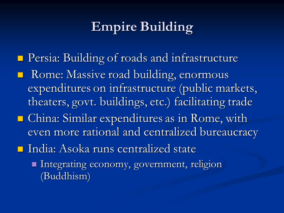 Empire Building Persia: Building of roads and infrastructure Persia: Building of roads and infrastructure Rome: Massive road building, enormous expend