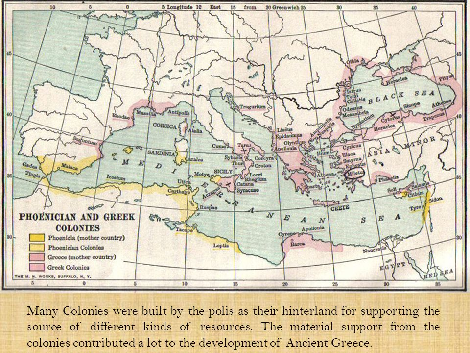 Many Colonies were built by the polis as their hinterland for supporting the source of different kinds of resources.