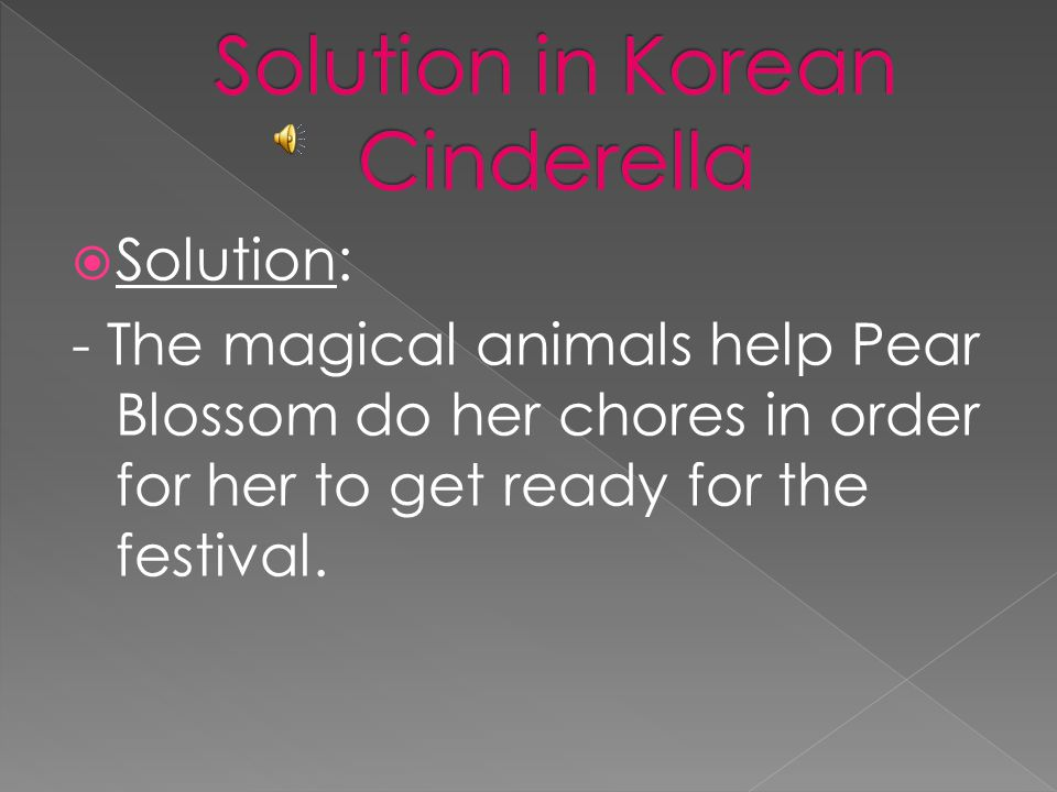  Solution: - A fairy god-mother uses her magic, to help Cinderella get ready to attend the ball.