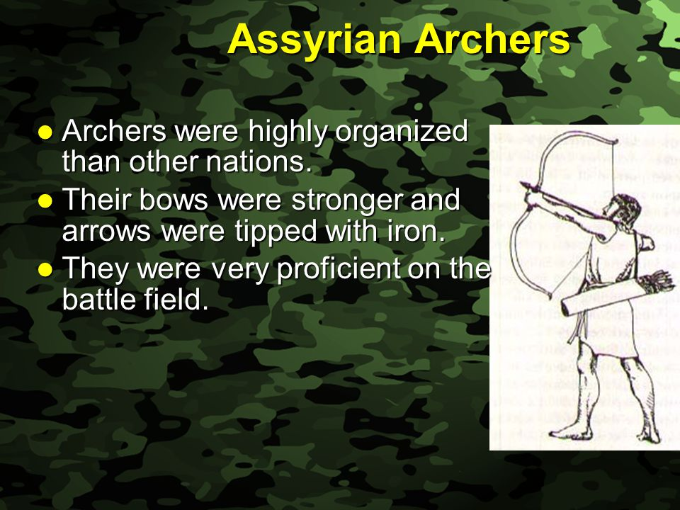 Slide 13 Assyrian Archers Archers were highly organized than other nations.
