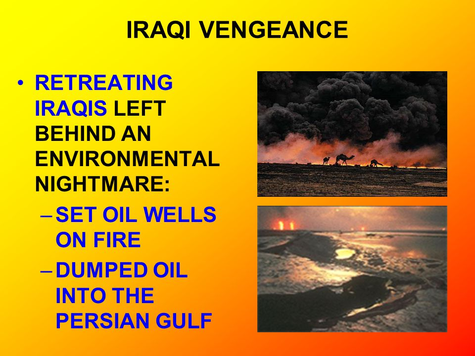 IRAQI VENGEANCE RETREATING IRAQIS LEFT BEHIND AN ENVIRONMENTAL NIGHTMARE: –SET OIL WELLS ON FIRE –DUMPED OIL INTO THE PERSIAN GULF