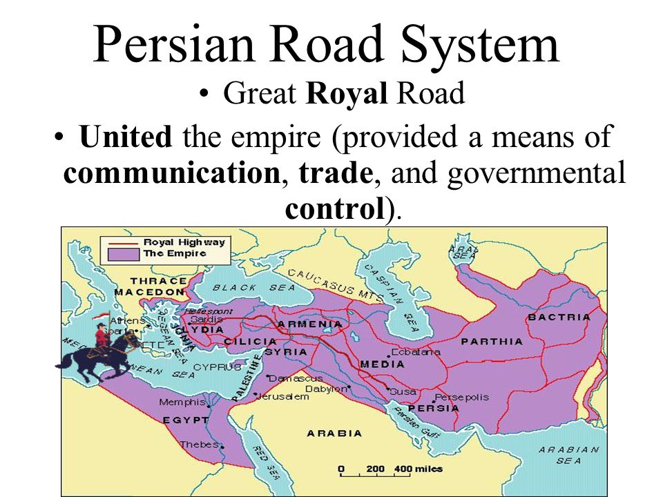 Persian Road System Great Royal Road United the empire (provided a means of communication, trade, and governmental control).