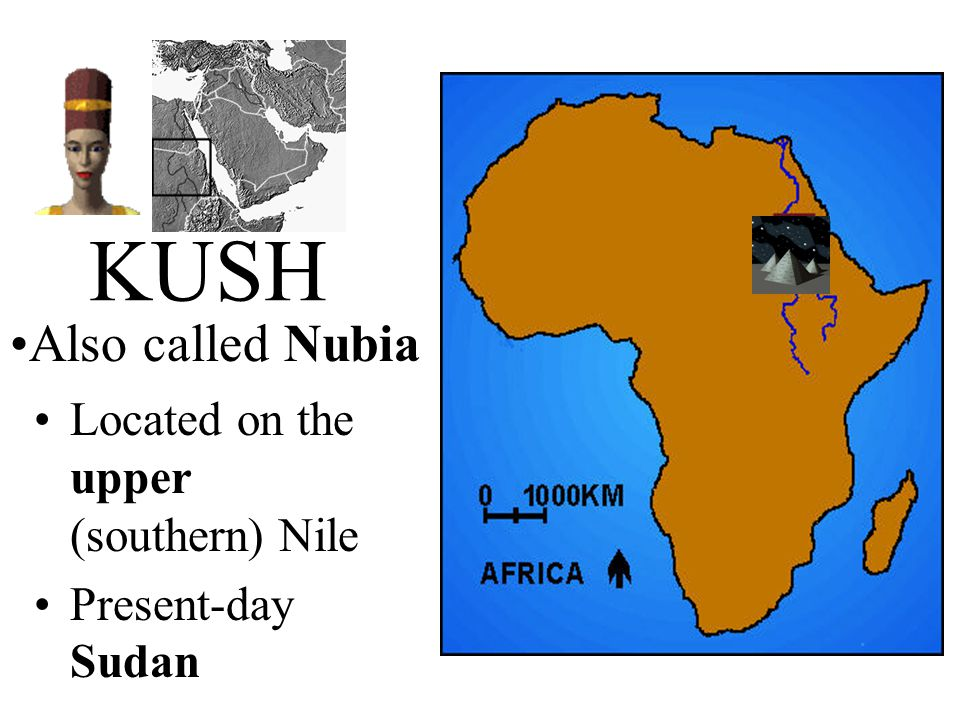 KUSH Located on the upper (southern) Nile Present-day Sudan Also called Nubia