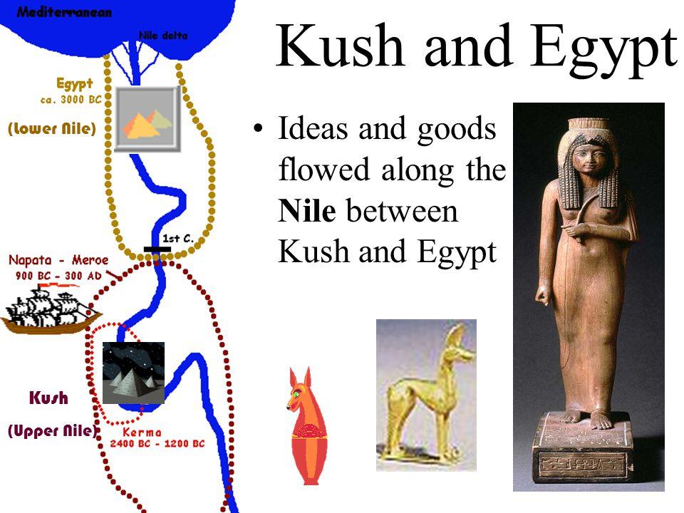 Kush and Egypt Ideas and goods flowed along the Nile between Kush and Egypt (Lower Nile) (Upper Nile) Kush