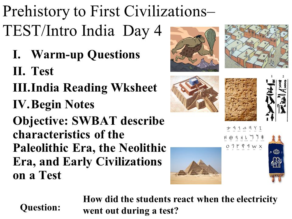 Warm-up Questions (8 questions), Day 4 Mesopotamia (Sumer) Egypt Aleppo Jericho Tigris R Euphrates R Ur 3 2 4 Neolithic settlements in the Fertile Crescent Anatolia 1 Label the maps Word bank Egypt Mesopotamia Anatolia Neolithic Settlements in the Fertile Crescent