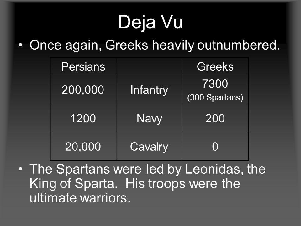 Deja Vu Once again, Greeks heavily outnumbered. The Spartans were led by Leonidas, the King of Sparta. His troops were the ultimate warriors. Persians