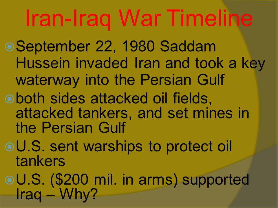 Iran-Iraq War Timeline  Iraq's Goals: 1. Remove Iran's leaders (shiite) 2.