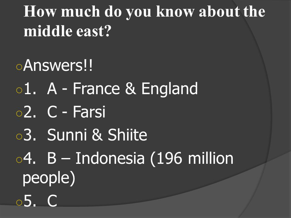 How much do you know about the middle east.○ Answers!.