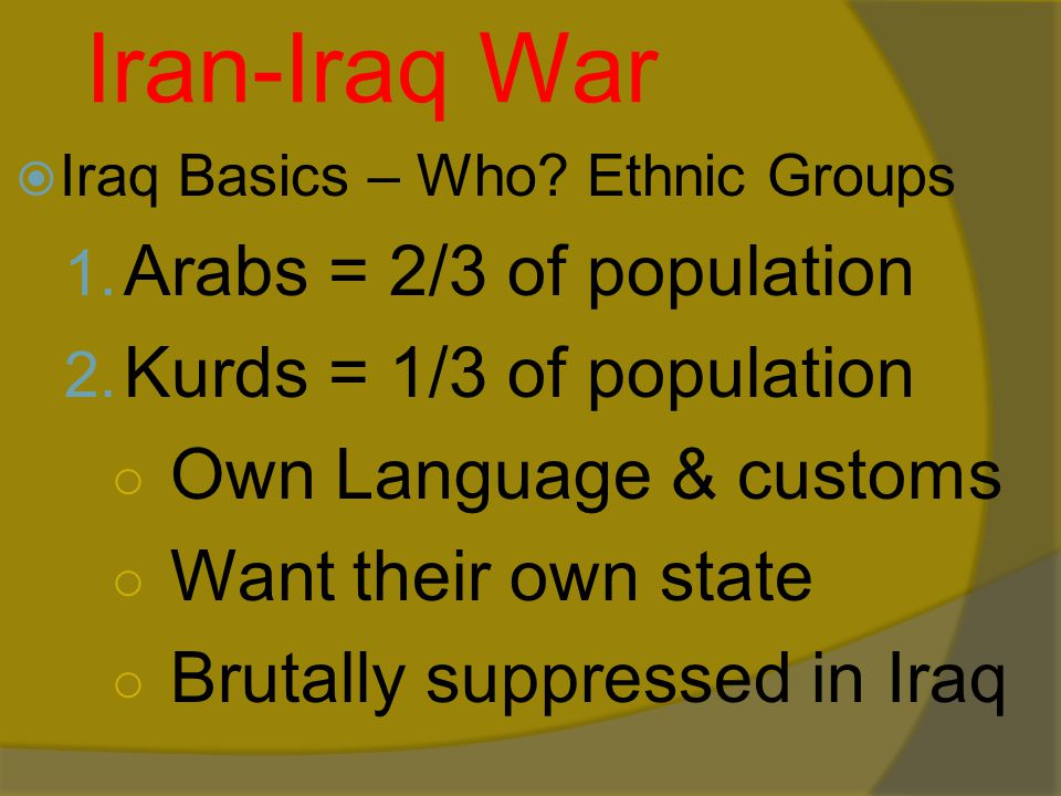 Iran-Iraq War  Iraq Basics – Who.Ethnic Groups 1.
