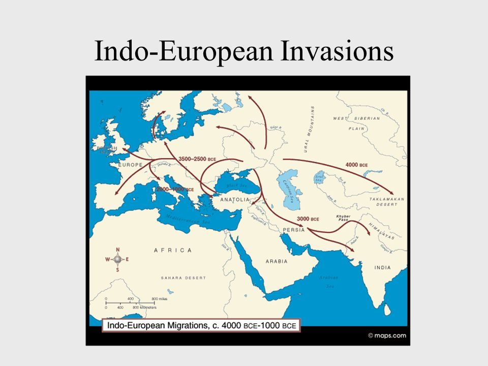 Indo-Europeans Indo-Europeans (Aryan language) – Nomadic tribes –From Steppes of Asia –Herders and Grazers –Warfare using horses –Swept into Old Europe, Middle East, India starting about 5,000 BC Hittites