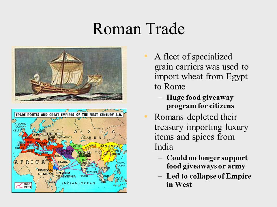 Roman Trade A fleet of specialized grain carriers was used to import wheat from Egypt to Rome –Huge food giveaway program for citizens Romans depleted their treasury importing luxury items and spices from India –Could no longer support food giveaways or army –Led to collapse of Empire in West