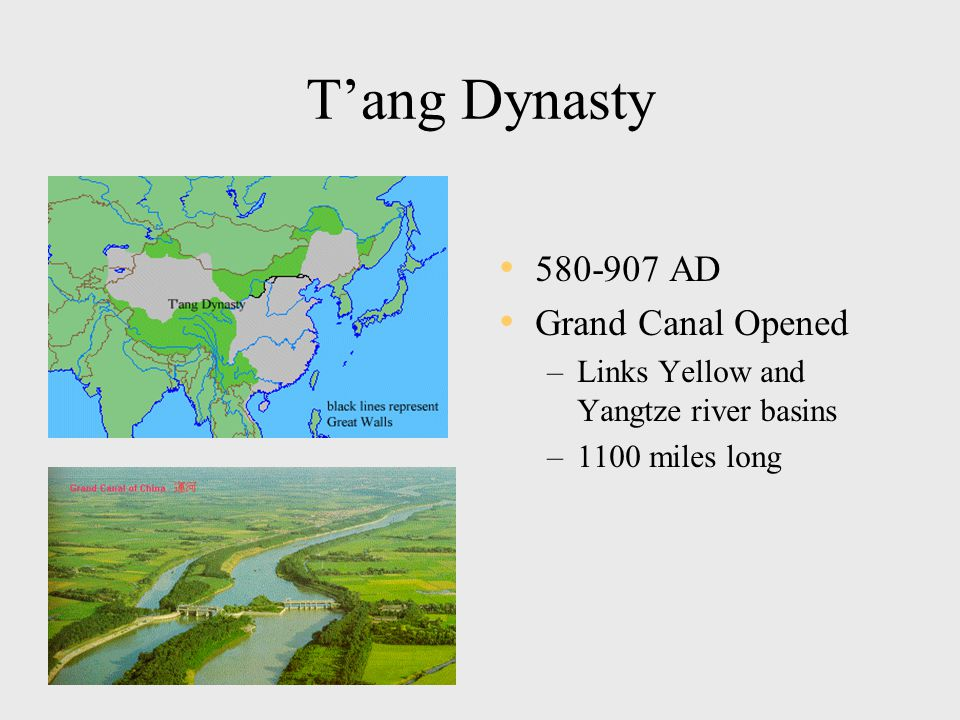 T'ang Dynasty 580-907 AD Grand Canal Opened –Links Yellow and Yangtze river basins –1100 miles long