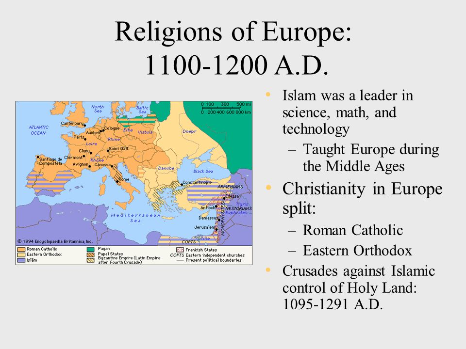 Religions of Europe: 1100-1200 A.D.