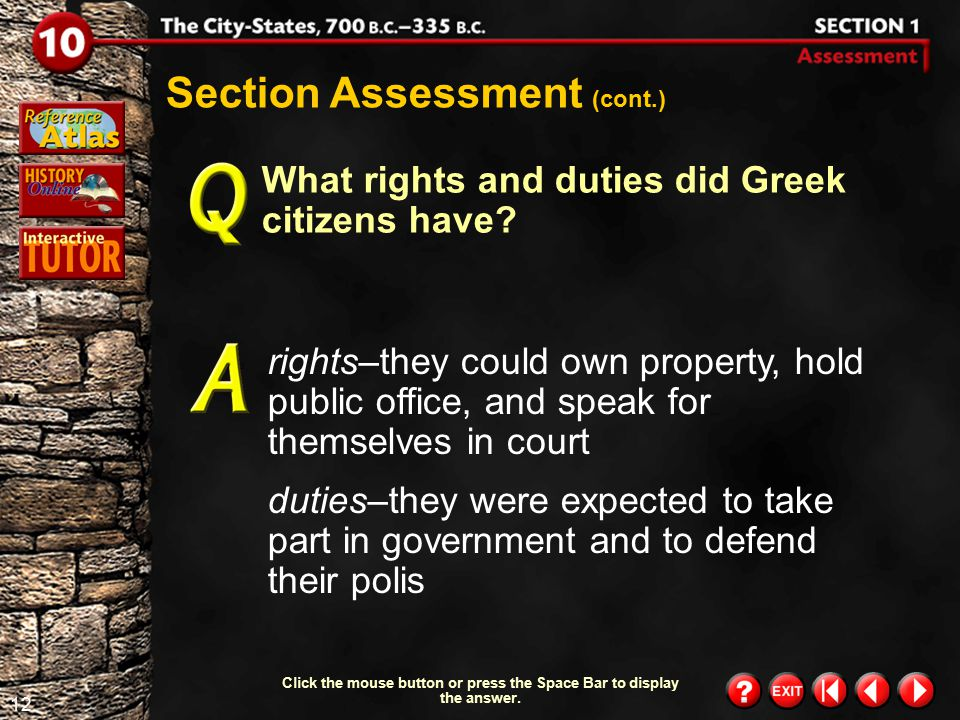 11 Section 1-Assessment 1 Section Assessment What areas generally made up each city-state? Farming villages, fields and orchards grouped around an acr
