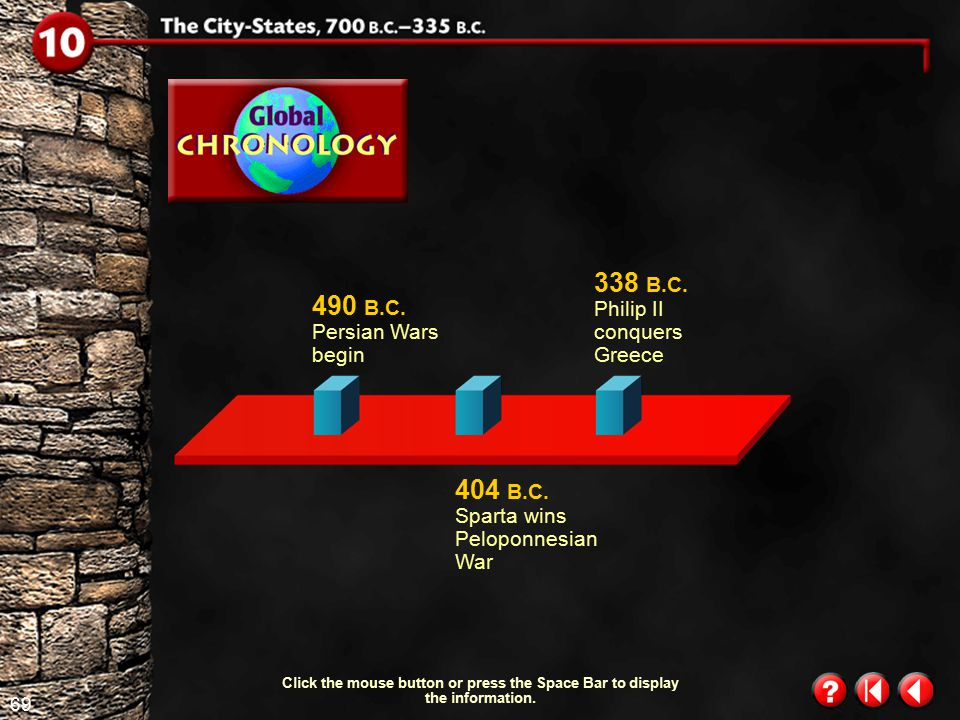 68 Global Chronology 1 Click the mouse button or press the Space Bar to display the information. 594 B.C. Athens expands citizenship 700 B.C. Greek ci