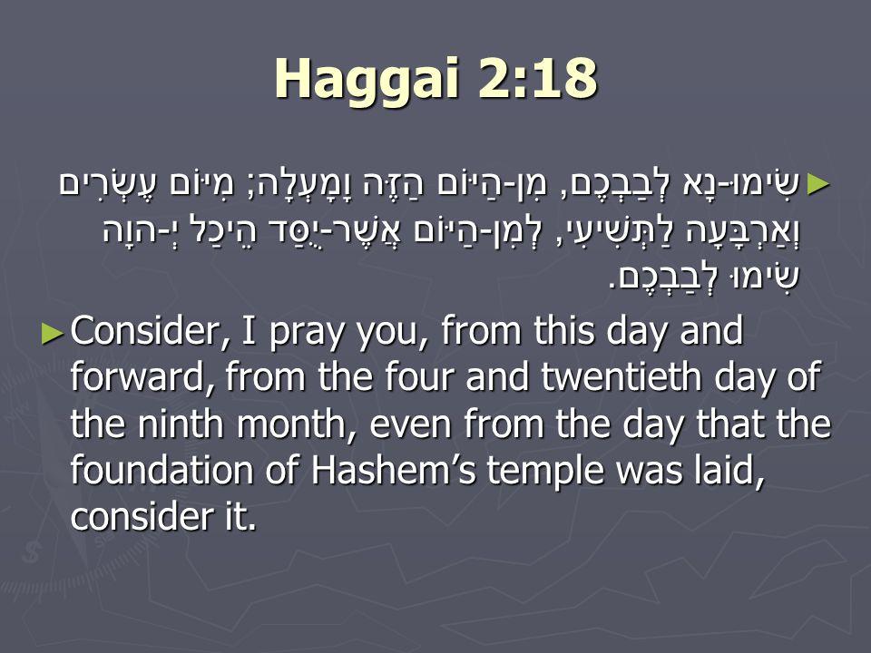 Haggai 2:18 ► שִׂימוּ - נָא לְבַבְכֶם, מִן - הַיּוֹם הַזֶּה וָמָעְלָה ; מִיּוֹם עֶשְׂרִים וְאַרְבָּעָה לַתְּשִׁיעִי, לְמִן - הַיּוֹם אֲשֶׁר - יֻסַּד הֵיכַל יְ - הוָה שִׂימוּ לְבַבְכֶם.