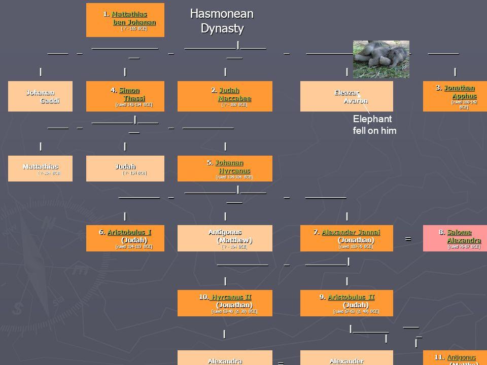 1. Mattathias ben Johanan [ ? - 165 BCE] Mattathias ben JohananMattathias ben Johanan Hasmonean Dynasty Hasmonean Dynasty _____ _____________ __ _ ___
