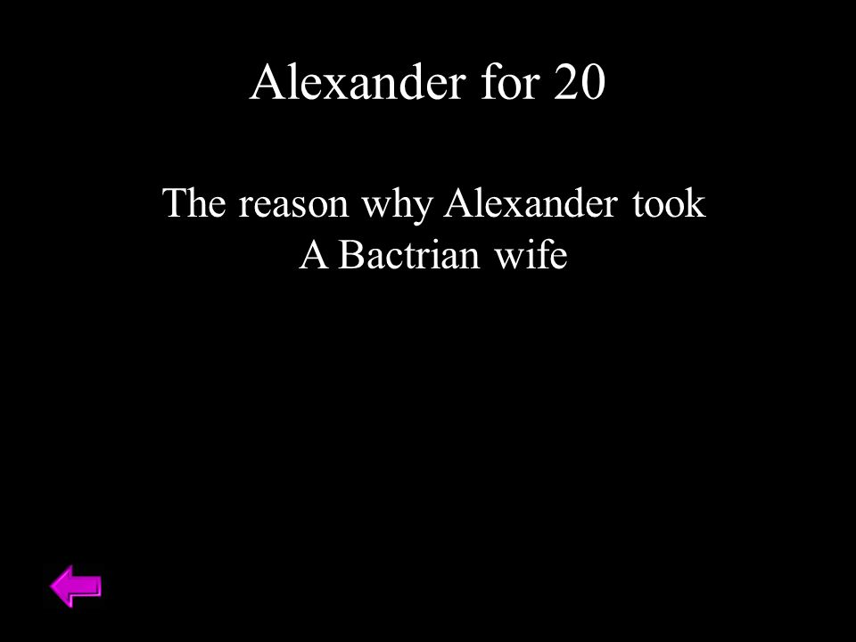 The reason why Alexander took A Bactrian wife Alexander for 20