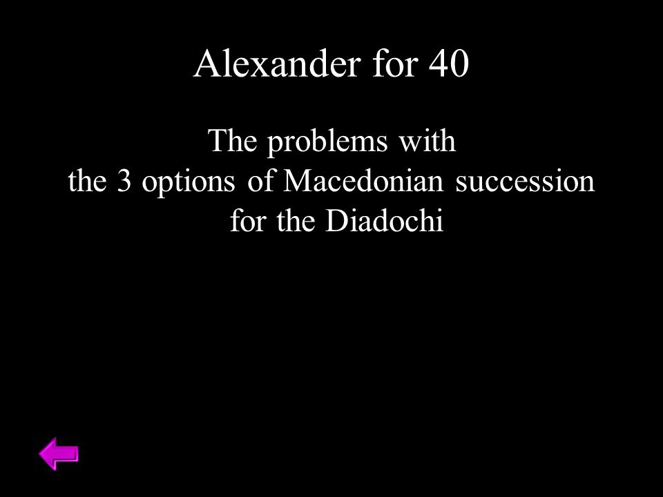 The problems with the 3 options of Macedonian succession for the Diadochi Alexander for 40