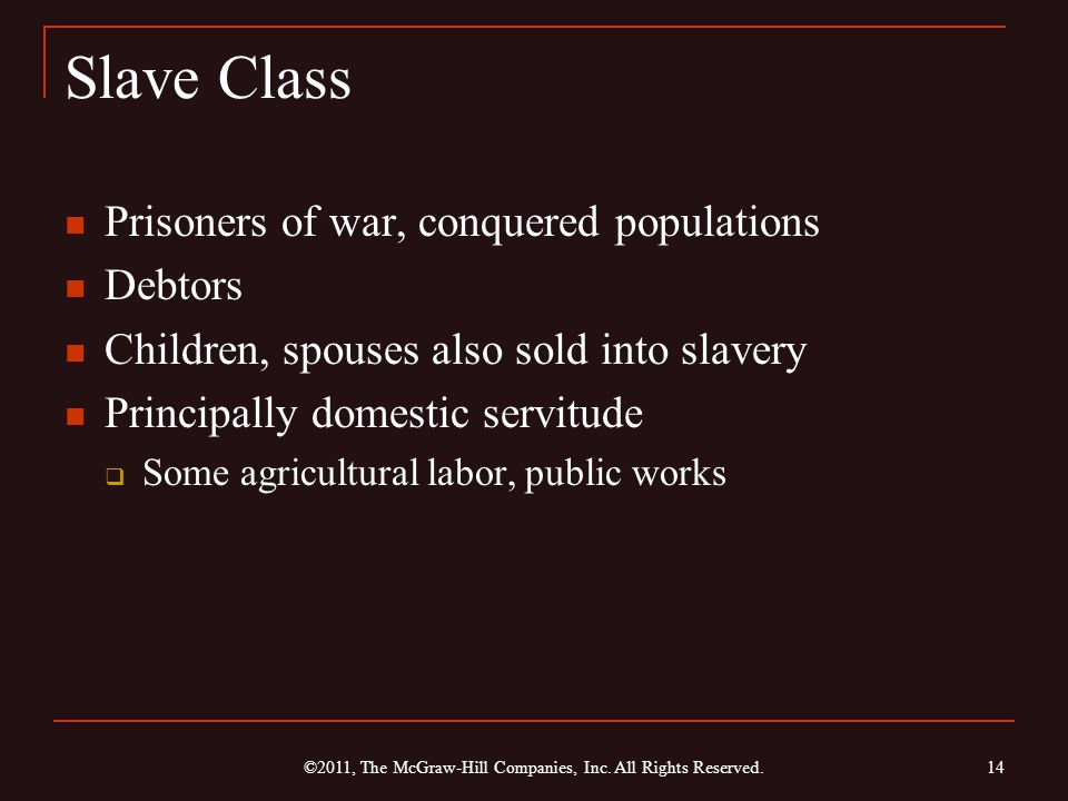 Slave Class Prisoners of war, conquered populations Debtors Children, spouses also sold into slavery Principally domestic servitude  Some agricultural labor, public works 14 ©2011, The McGraw-Hill Companies, Inc.