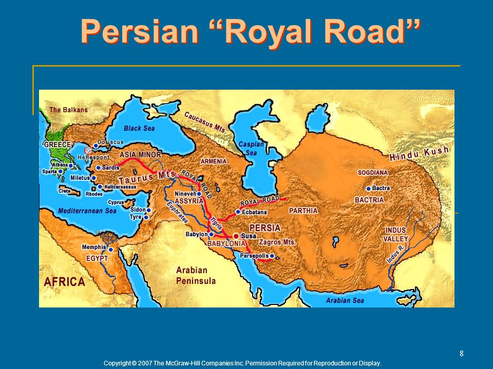 "Copyright © 2007 The McGraw-Hill Companies Inc. Permission Required for Reproduction or Display. 8 Persian ""Royal Road"""