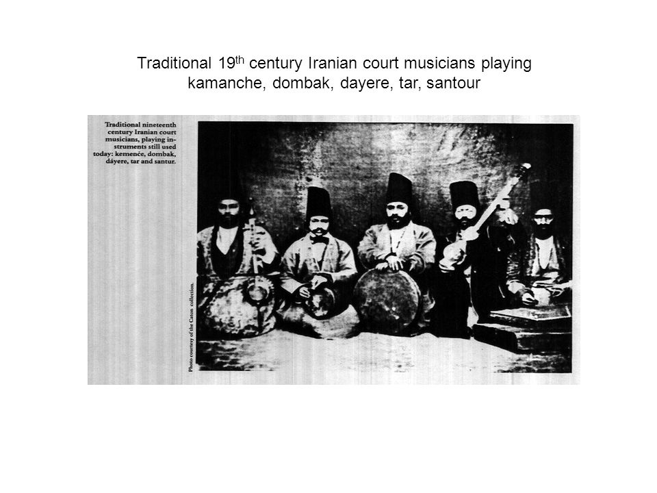 Traditional 19 th century Iranian court musicians playing kamanche, dombak, dayere, tar, santour