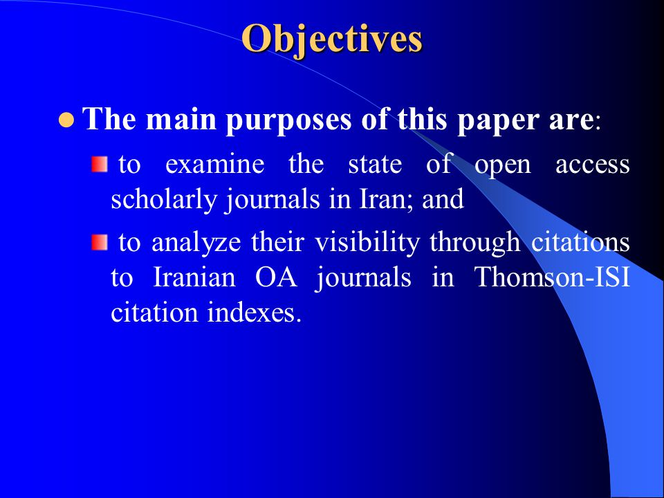 The main purposes of this paper are : to examine the state of open access scholarly journals in Iran; and to analyze their visibility through citations to Iranian OA journals in Thomson-ISI citation indexes.Objectives