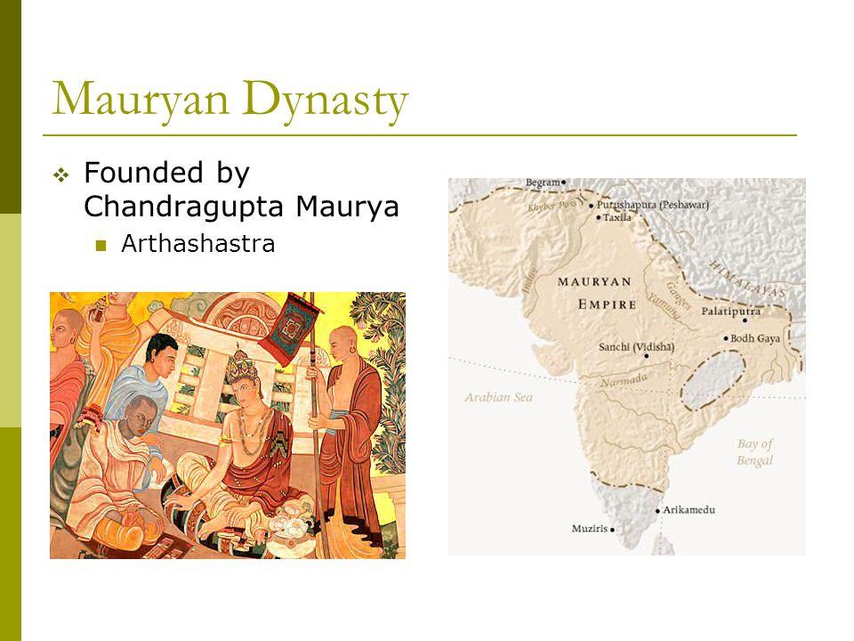Mauryan Dynasty  Founded by Chandragupta Maurya Arthashastra