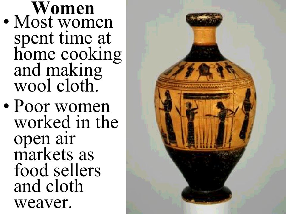 Women Most women spent time at home cooking and making wool cloth.