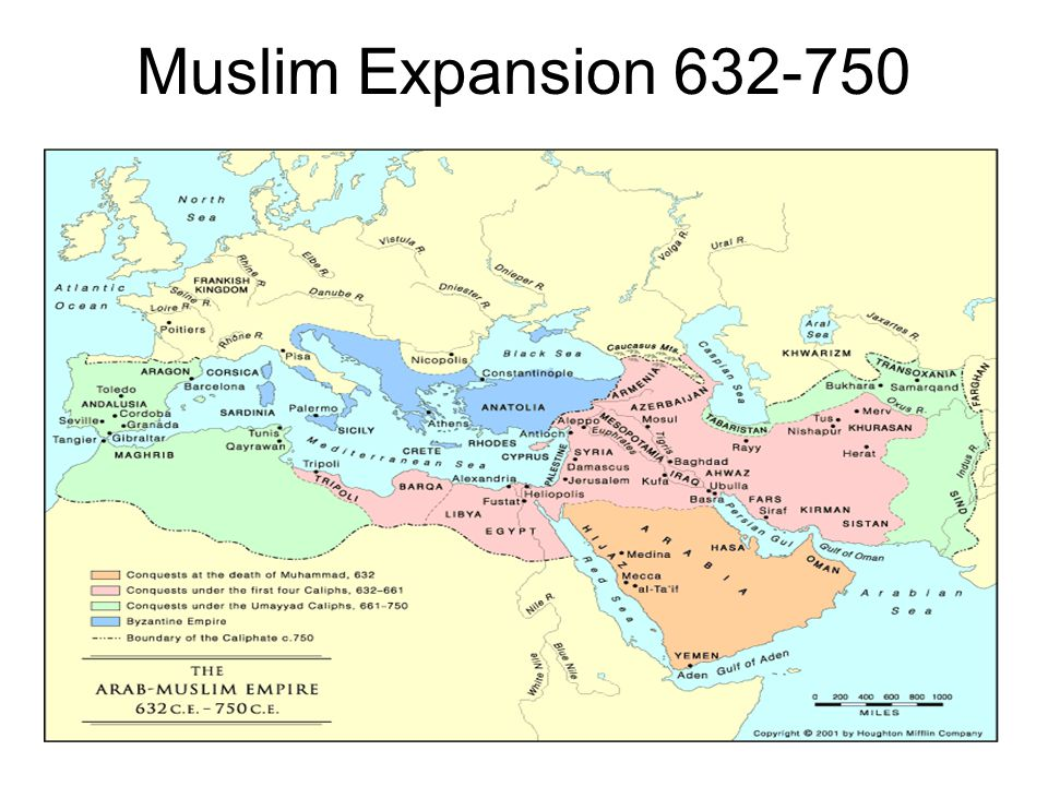 Umayyad Dynasty (652-750) Capital in Damascus Wars against Byzantium Conquest of Spain, further advances stopped by Franks in 732 Arabic official language of government Conversions encouraged Non-Muslims pay a special head tax, but not forced to convert Judaism and Christianity tolerated