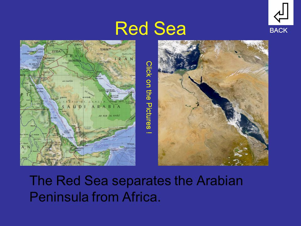 Red Sea The Red Sea separates the Arabian Peninsula from Africa. BACK Click on the Pictures !
