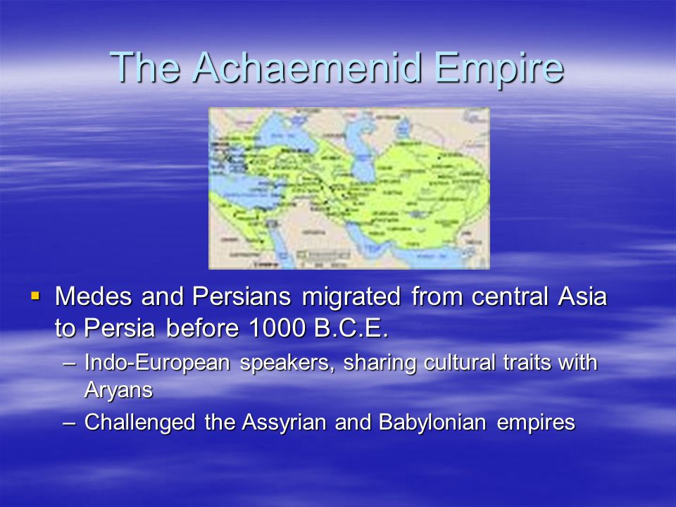  The Parthians, based in Iran, extend to Mesopotamia –Power of Parthian was heavy cavalry heavy cavalry –Mithradates I established an empire through an empire through conquests from 171-155 B.C.E.