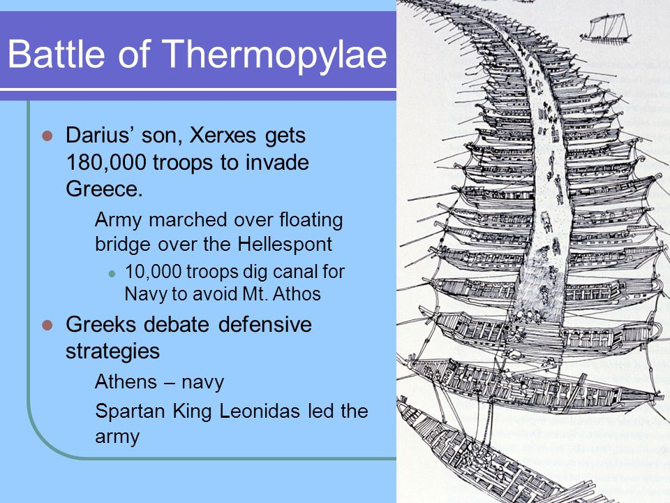 Battle of Thermopylae Darius' son, Xerxes gets 180,000 troops to invade Greece. Army marched over floating bridge over the Hellespont 10,000 troops di