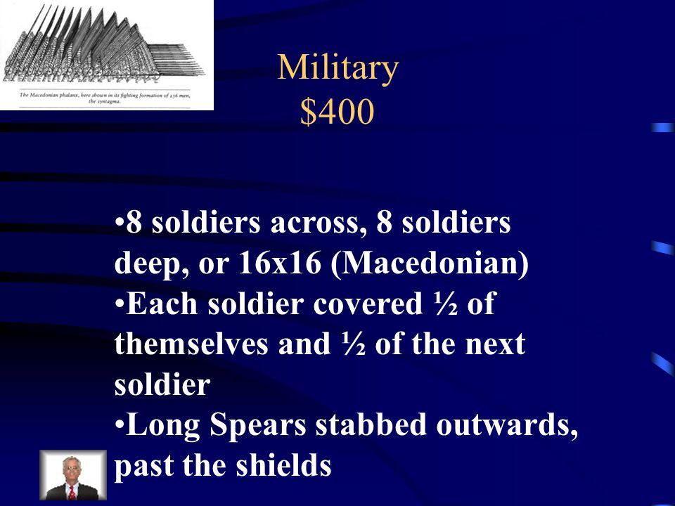 Military $400 Describe the phalanx formation and its tactics.