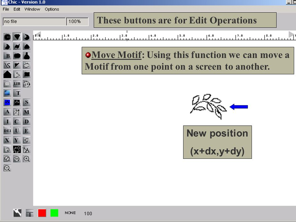 14 These buttons are for Edit Operations Move Motif: Using this function we can move a Motif from one point on a screen to another.
