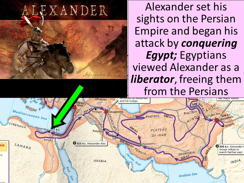 Alexander set his sights on the Persian Empire and began his attack by conquering Egypt; Egyptians viewed Alexander as a liberator, freeing them from the Persians