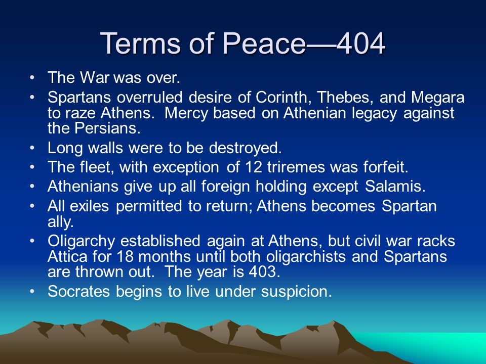 Terms of Peace—404 The War was over.