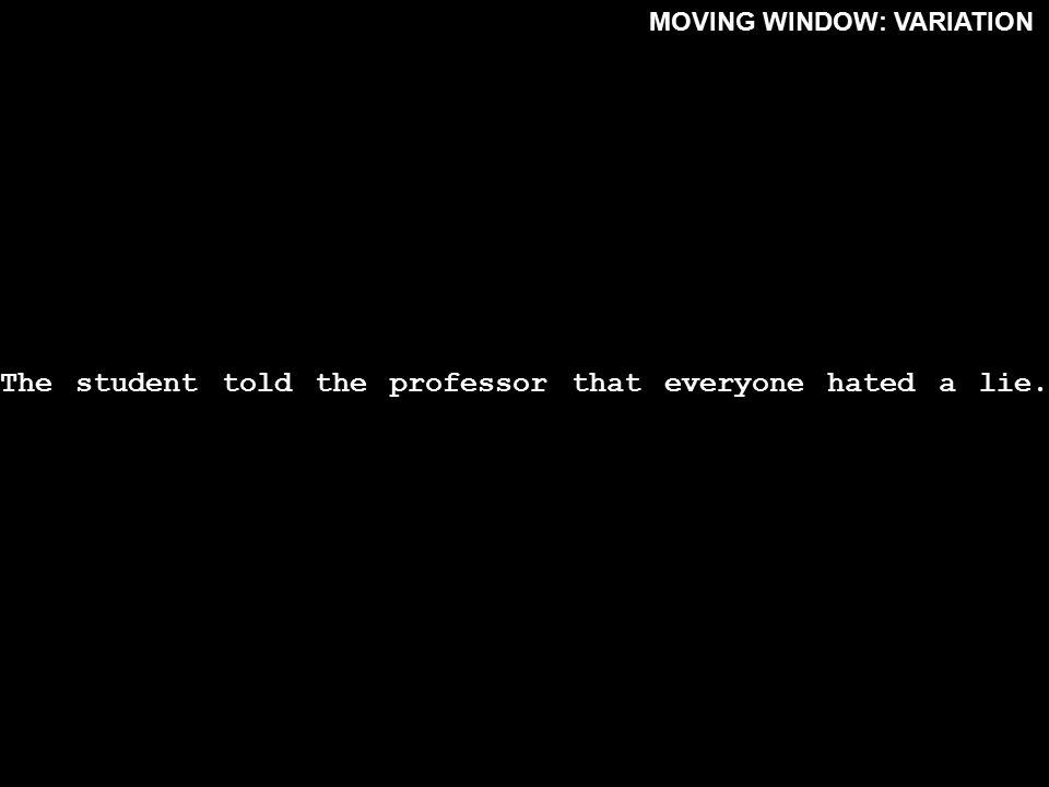 -----------------------------------------------. MOVING WINDOW: VARIATION Thestudenttoldtheprofessorthateveryonehatedalie.