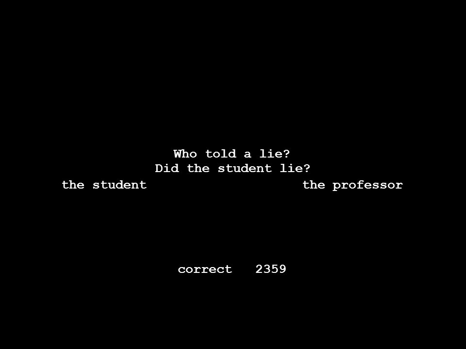 -----------------------------------------------. Thestudenttoldtheprofessorthateveryonehatedalie. Who told a lie? the student the professor Did the pr