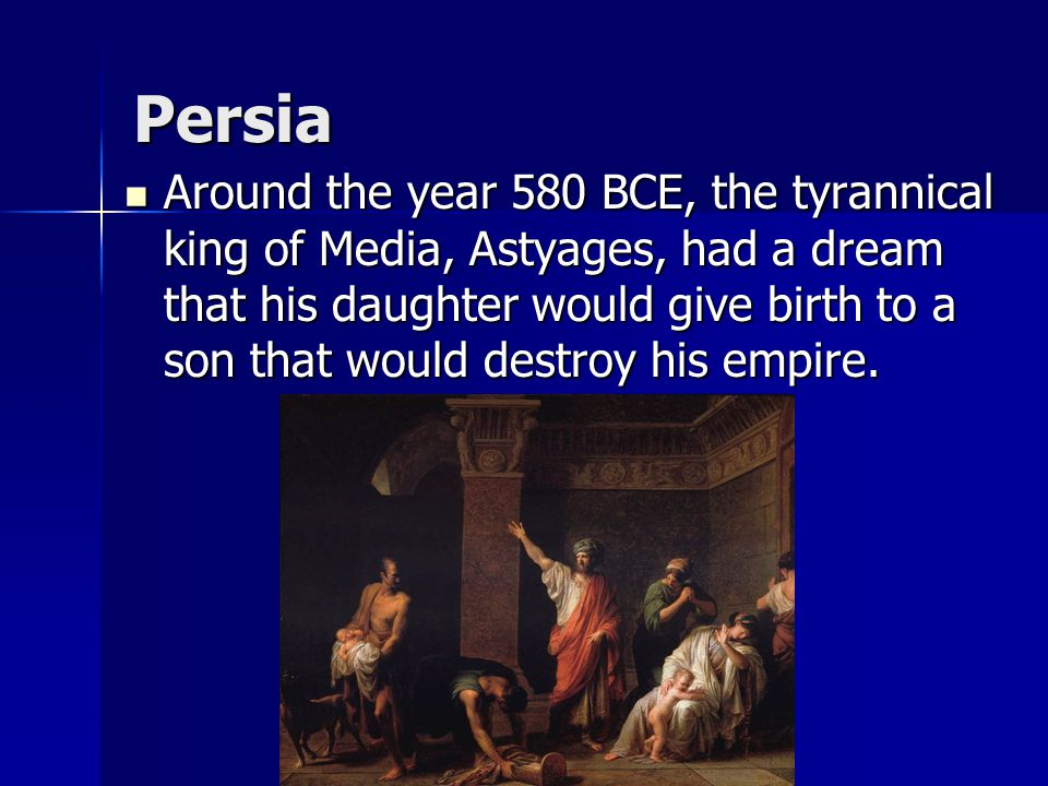 Persia Its location was in between the population centers of the Indian subcontinent and southwest Asia, so traders had crossed the area for many centuries before its people were organized under the first Persian warrior-king, Cyrus the Great (r 557-530 BCE).