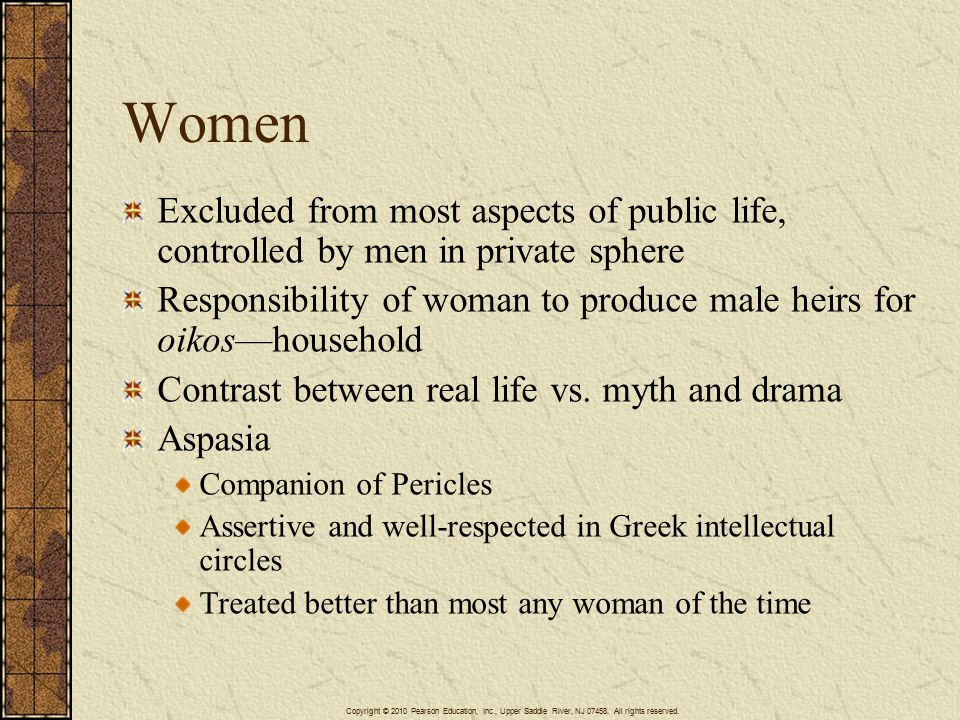 Women Excluded from most aspects of public life, controlled by men in private sphere Responsibility of woman to produce male heirs for oikos—household Contrast between real life vs.