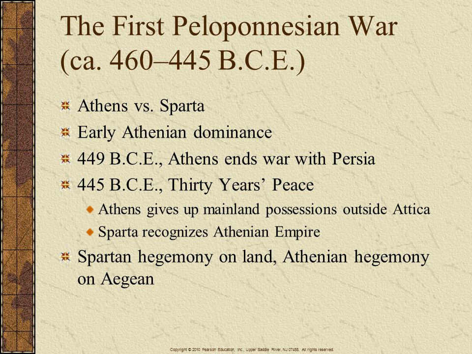 The Great Peloponnesian War (432–404 B.C.E.) Corcyra-Corinth dispute Sparta refuses to arbitrate dispute with Athens, essentially insisting on armed conflict Peloponnesian League vs.