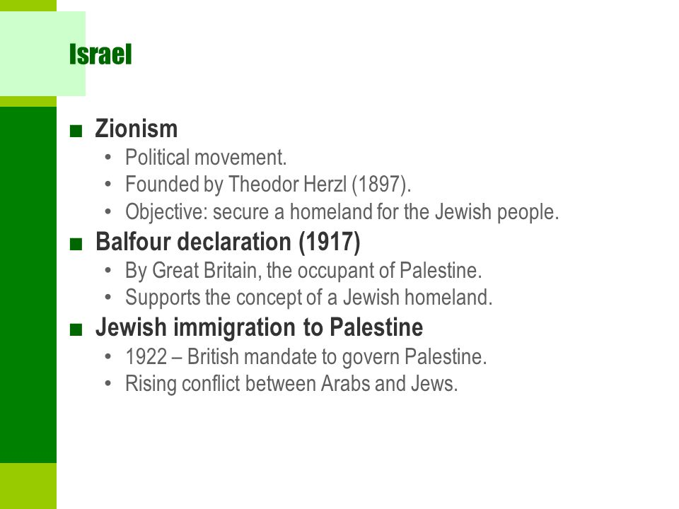 Israel ■ Zionism Political movement.Founded by Theodor Herzl (1897).