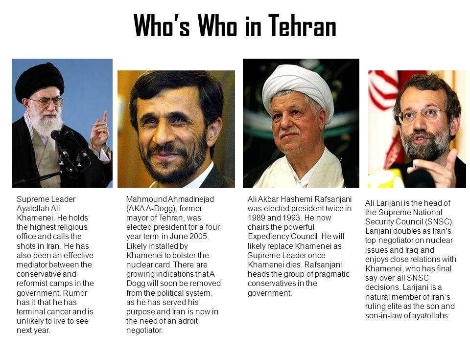 Who's Who in Tehran Supreme Leader Ayatollah Ali Khamenei.