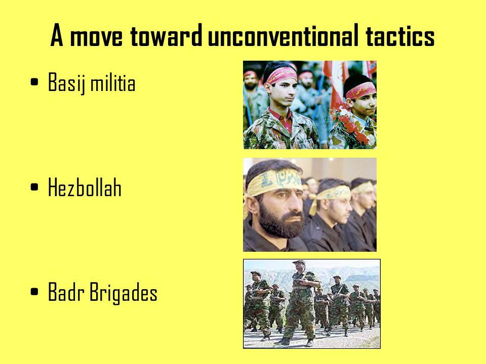 A move toward unconventional tactics Basij militia Hezbollah Badr Brigades