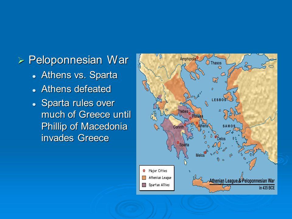  Peloponnesian War Athens vs. Sparta Athens vs.