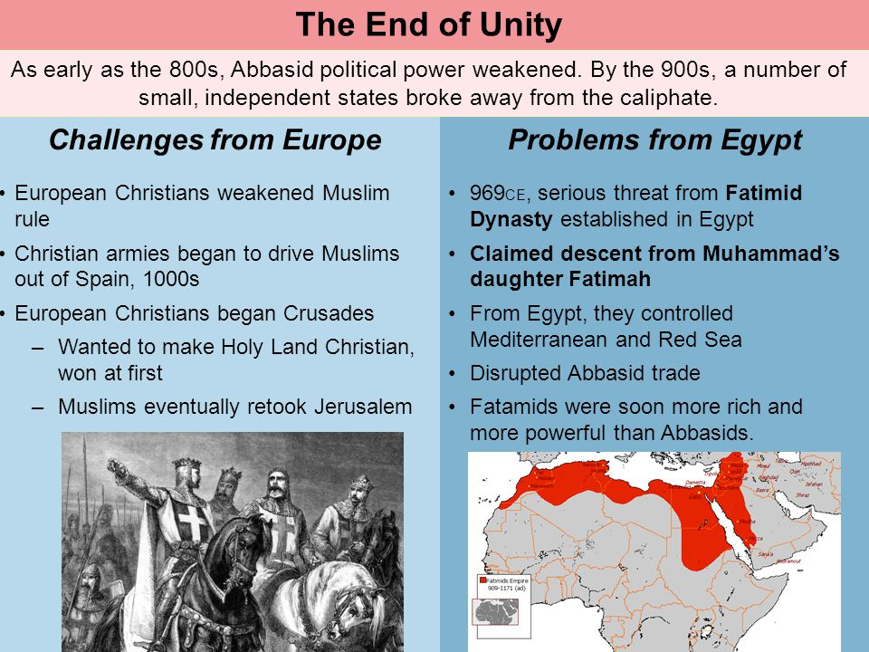 Muslim Civilization Section 2 As early as the 800s, Abbasid political power weakened. By the 900s, a number of small, independent states broke away fr