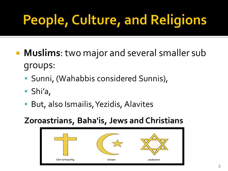  Muslims: two major and several smaller sub groups:  Sunni, (Wahabbis considered Sunnis),  Shi'a,  But, also Ismailis, Yezidis, Alavites Zoroastrians, Baha is, Jews and Christians 5